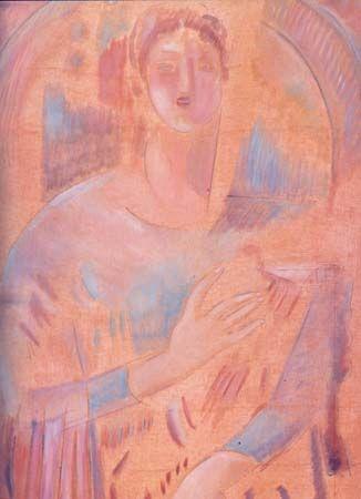 Κ. Παρθένη, Άγγελος με άρπα  Ο Άγγελος και η άρπα απεικονίζονται ελλειπτικά.