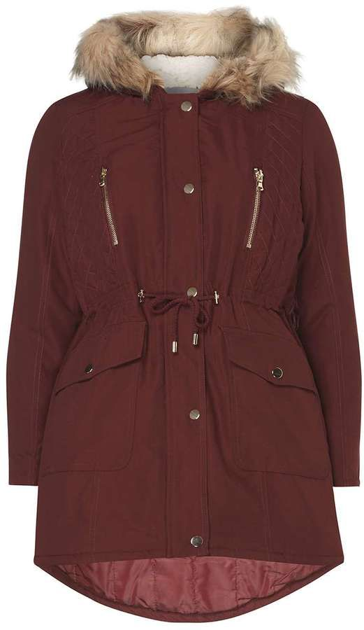 Petite Red Quilted Parka