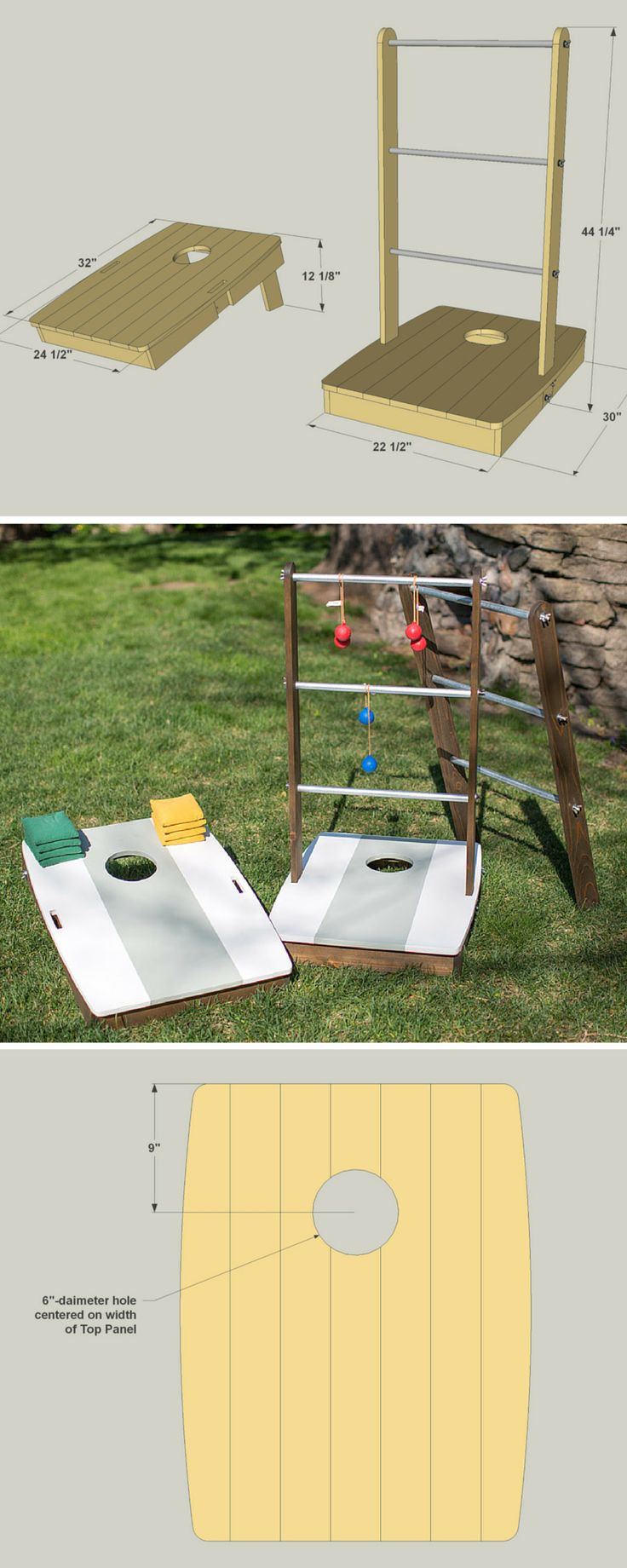 How to build a DIY 2-in-1 Outdoor Games | Free printable project plans with how-to steps, tools and materials list, cutting list and diagram. | Add some fun to your outdoor living with this clever combination of two popular outdoor games. With the uprights installed, you can play ladder ball. Remove the uprights and flip down the legs, and you're ready for the fun of bean-bag toss!