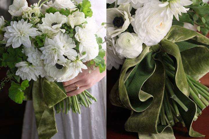 With a green velvet sash: White Flowers, Country Chic Wedding, Floral Design, Wedding Bouquets, Velvet Ribbons, Amy Merrick, Wedding Flowers, White Bouquets, Green Velvet