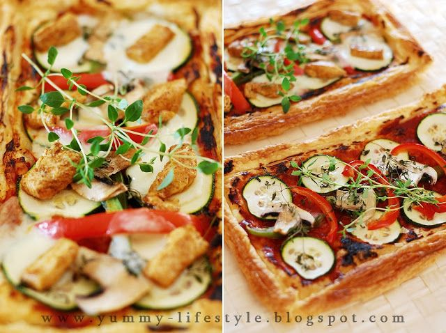 Yummy Lifestyle - Z uwielbienia dla jedzenia.: Oszukana pizza na cieście francuskim. / Fake pizza on puff pastry.