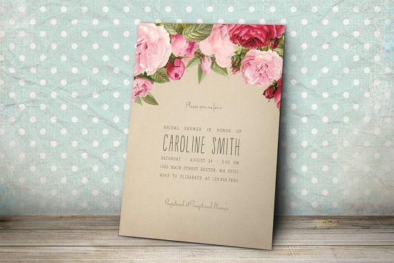 Printable Bridal Shower Invitation - Kraft Paper Bridal Shower Invitation with Vintage Roses on Etsy, $15.00