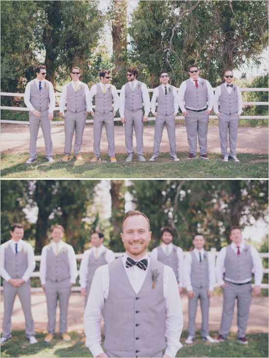bow ties and vest for the groom and his men  http://www.weddingchicks.com/2013/09/25/rustic-summer-wedding/