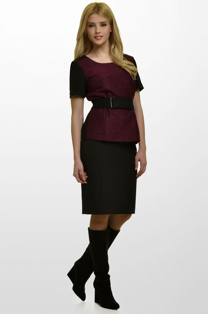 Sarah Lawrence - short sleeve top with combination of two fabrics and shoulder leatheret details, jersey pencil skirt.