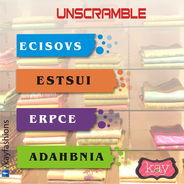Let's see how well you know the names of #saree material! Unscramble these words and tell us the names!  http://www.kayfashions.in/#!/ #fashion #indian #weddings #bridal #lehenga #ghagra #anarkali #salwar #designer #ethnic #boutique #chennai #shopping #triplicane #dress #clothes #traditional #saree #sari #silksaree