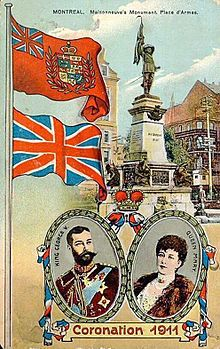 A Canadian postcard marking the coronation of King George V in 1911, showing the Royal Union Flag (lower) and a version of the Red Ensign with a crowned composite shield of Canada (unapproved by the sovereign) in the fly