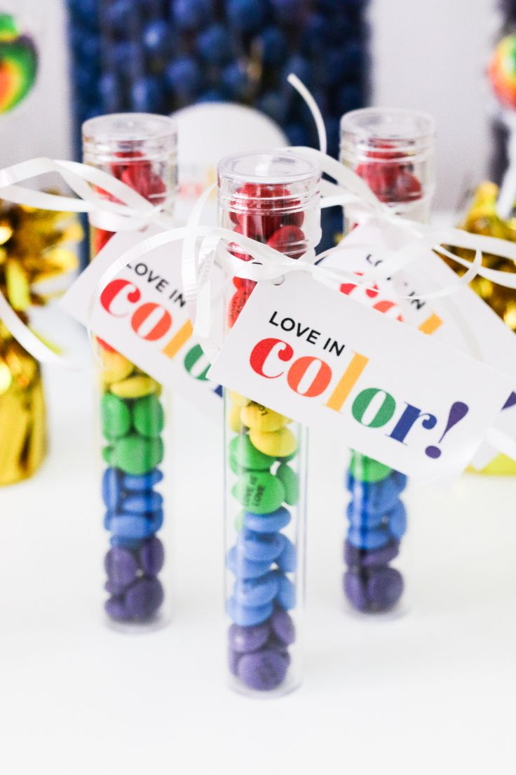 DIY Rainbow Candy Tube Wedding Favors