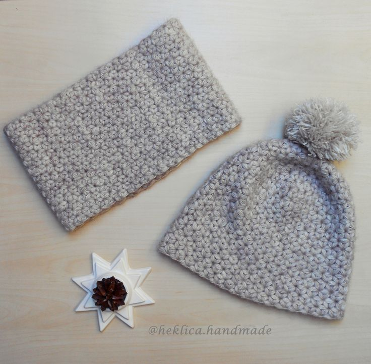 Triangle star stitch hat and cowl