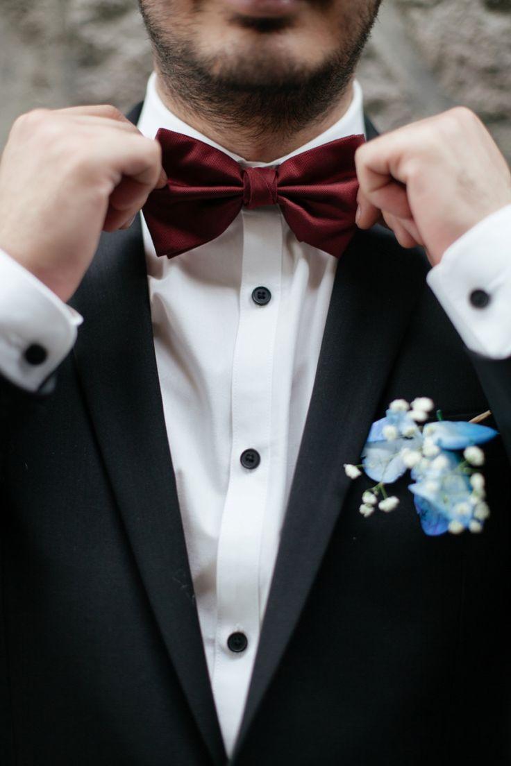 tux with burgundy bow tie thefashionmedley.com