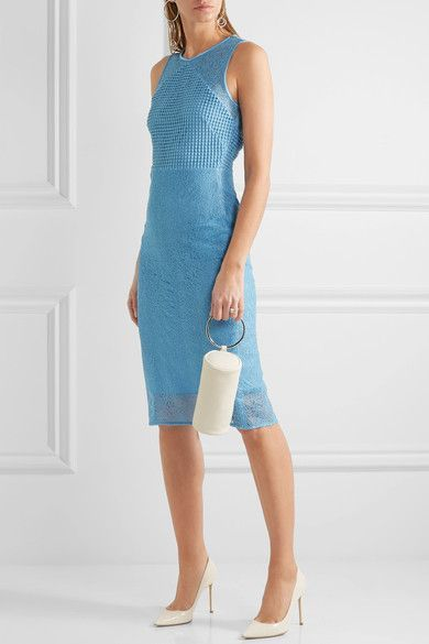 Light-blue lace Concealed hook and zip fastening at back Fabric1: 100% polyester; fabric2: 71% acetate, 29% viscose; lining: 84% polyester, 16% spandex Dry clean
