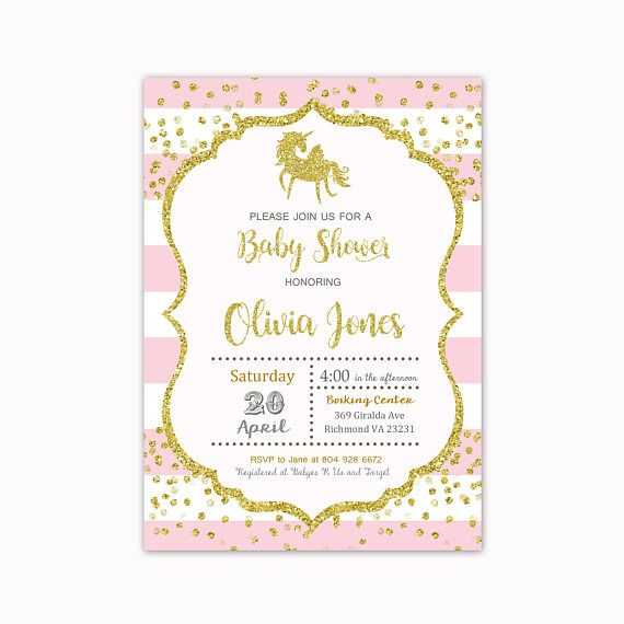 Unicorn baby shower invitation Pink and Gold  baby shower