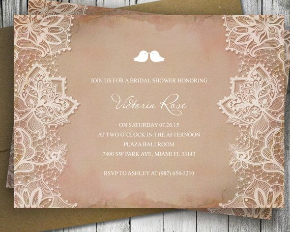 DIY Printable Shabby Chic Invitation Shell  Rustic by VGInvites