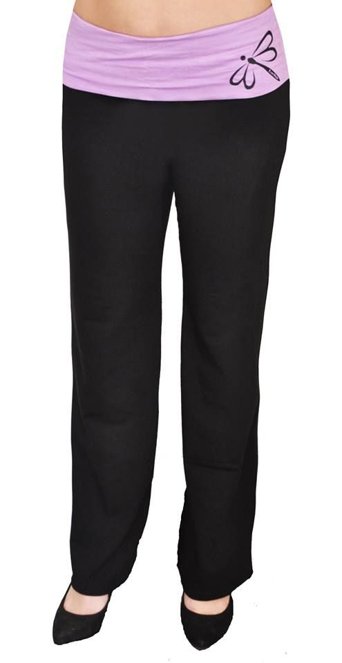 Yoga Pants by EverWear.  Made from Cotton Lycra.   Fold over band available in 17 different colours.