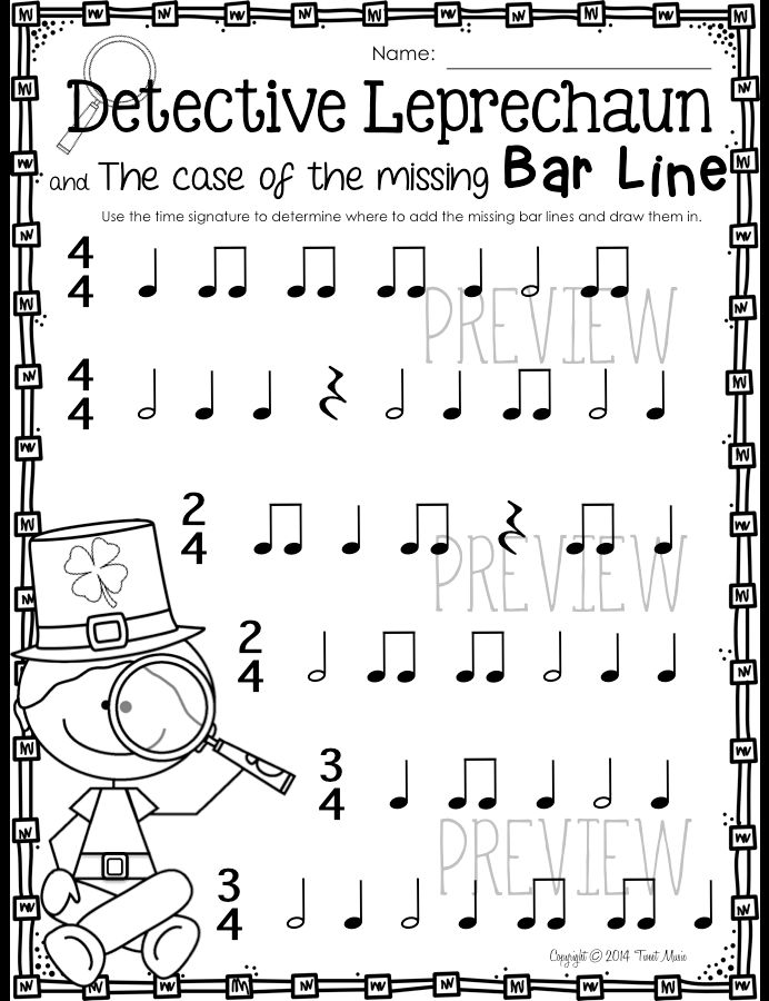 ELEMENTARY MUSIC SCALES TO LEARN Detective Leprechaun! Draw in the missing bar lines:) $ St. Patrick's Day