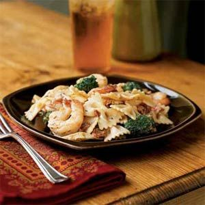 Shrimp, Broccoli, and Sun-Dried Tomatoes with Bow Tie Pasta. From Cooking Light