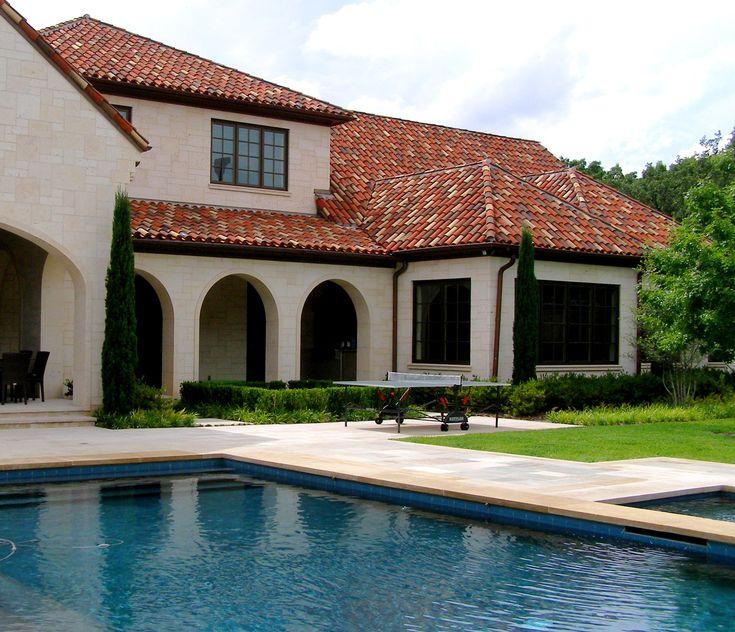 Backyard Exterior Of A Italian Mediterranean Villa In
