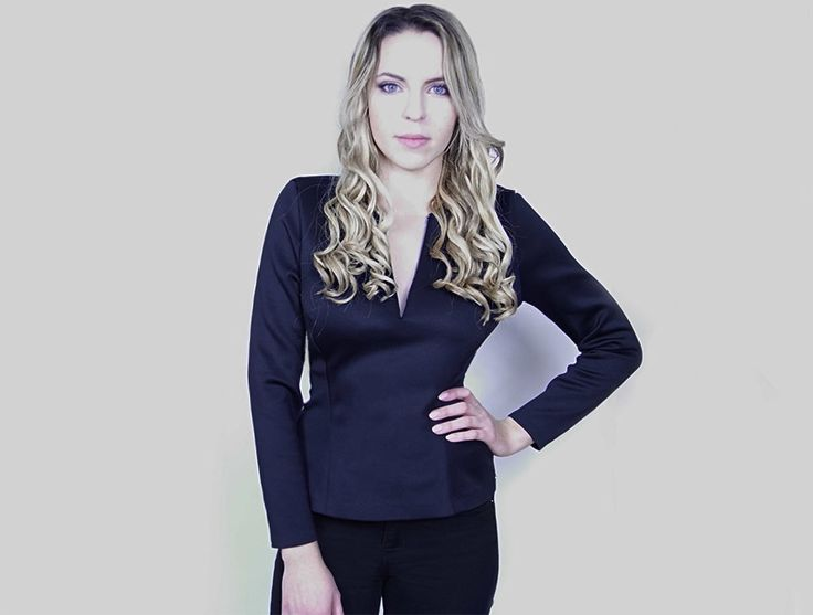 Blonde Girl in a Handmade Fitted Dark Navy Neoprene Top with Mesh V-neck made in Toronto with love 💕  Chic Sophistic™ http://chicsophisticstore.com/product/navy-top-with-v-neckline/
