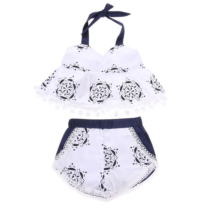 >> Click to Buy <<  Fashion Cute Newborn Baby Girl Clothes Summer Sleeveless Tank Top Tassel T-shirt + Short Pant  2PCS Outfit Beach Suit For Baby #Affiliate