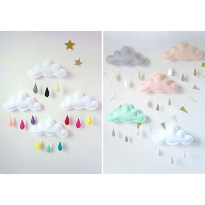 Mobile nuage gouttes de pluie gris/menthe/jaune - The Butter Flying