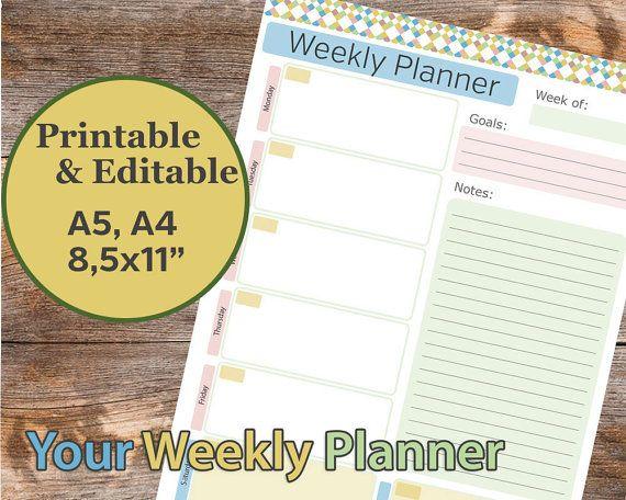 Weekly Planner Printable, Weekly planner, Editable Weekly Planner, Weekly Agenda, To Do List, Planner Inserts, Checklist  The Weekly Planner