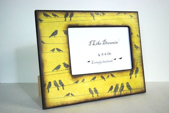 4 x 6 Picture Frame  Birds On A Wire Picture Frame by Mmim on Etsy, $20.00