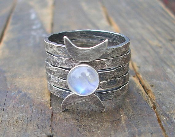Triple Moon Goddess Stacking Rings by StarNative on Etsy, $87.00
