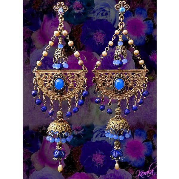 Long Exotic Blue Opal Chandelier Earrings East Indian Jhumka 68