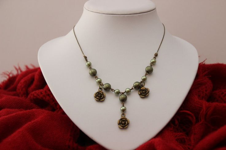 Flowered Olive Grove Necklace- A stylish and unique beaded necklace with bronze flower pendants by 4Dignity on Etsy
