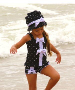 2012 Spring Preorder Girls Swimsuit1920's Inspired Black & White 2 Piece SetMatching Hat also availableSizes 12 Months to Girls 6