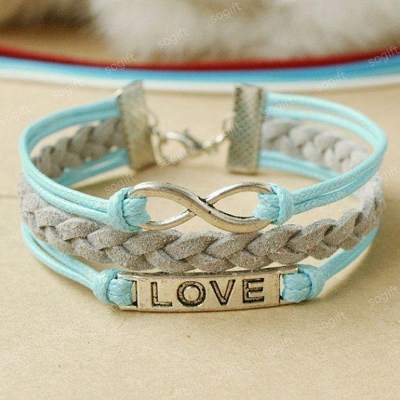 Infinity Bracelet love symbol bracelet sky blue and grey by sogift, $7.99