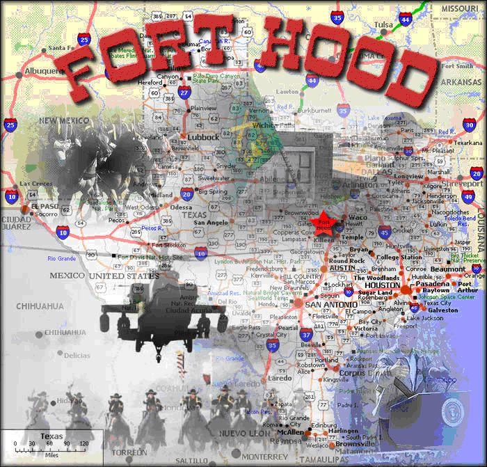 Fort Hood is a United States military post located in Killeen, Texas. The post is named after Confederate General John Bell Hood. It is located halfway between Austin and Waco, about 60 miles from each in the State of Texas