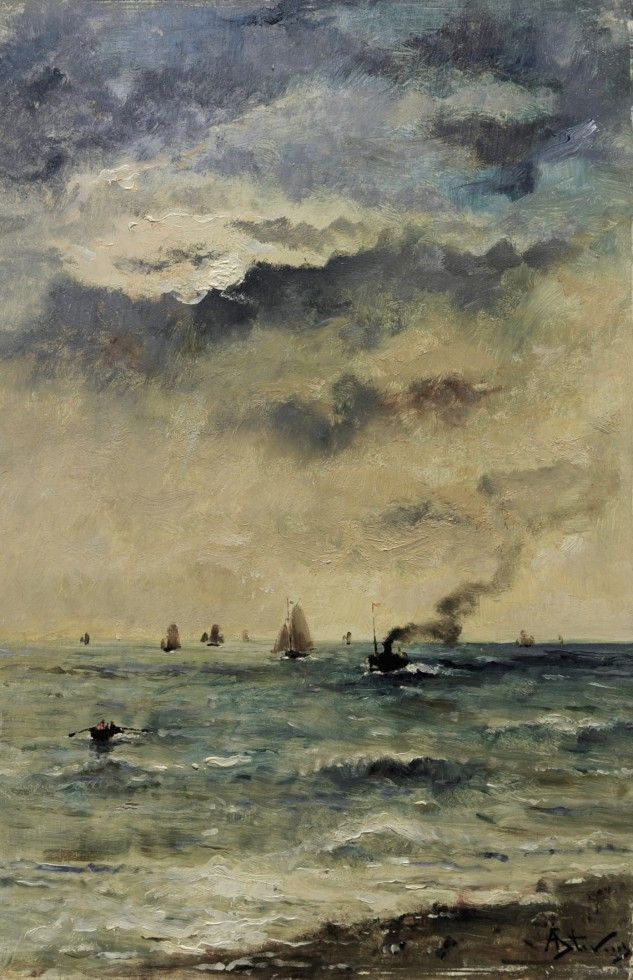 Steamship and fishing boats off Le Havre | Alfred Stevens [1880]