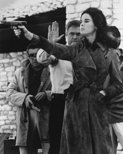 Ali MacGraw & Steve McQueen on the set of The Getaway (1972, dir. Sam Peckinpah). I am not the author of this image. Check out Peckinpah having a chat with Dustin Hoffmann on set of Straw Dogs …