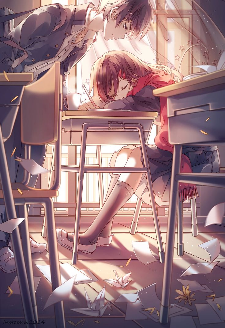 Cute Anime Couple | Desk | Classroom | Happy | Pretty | Beautiful | Lovely