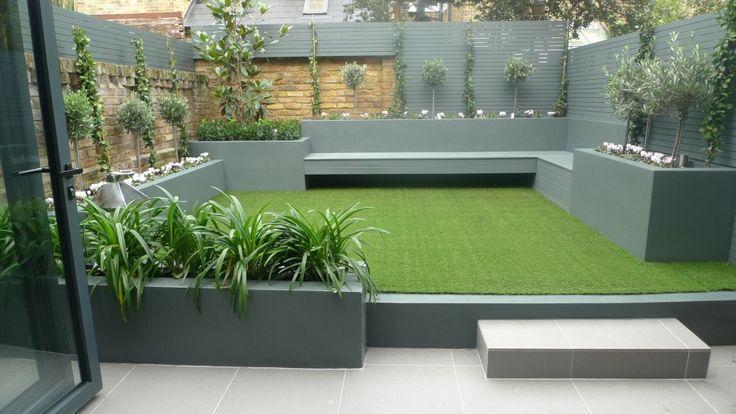 modern small low maintenance garden fake grass grey raised beds contemporary planting marylebone london