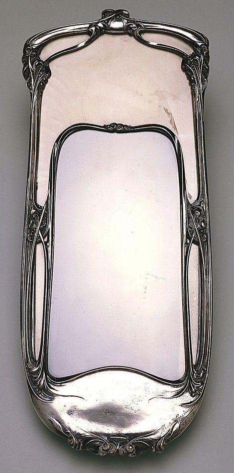 Art nouveau miroir mural laiton plaqu argent hector for Miroir art nouveau