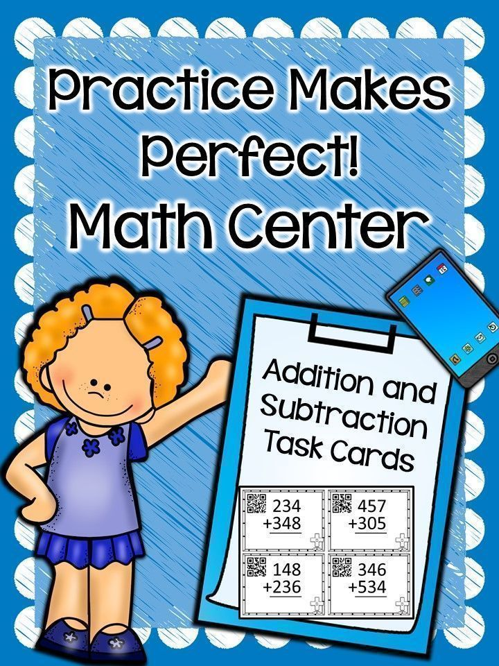 These write on/wipe off addition and subtraction {with QR codes} task cards will provide your students with extra practice in addition and subtraction skills. They can practice both skills using double and triple digits, as well as grouping and regrouping. Laminate the cards for durability and place in a Math Center. Students can write on the laminate using a dry-wipe marker. They can check their answers on a mobile device using the QR Codes.