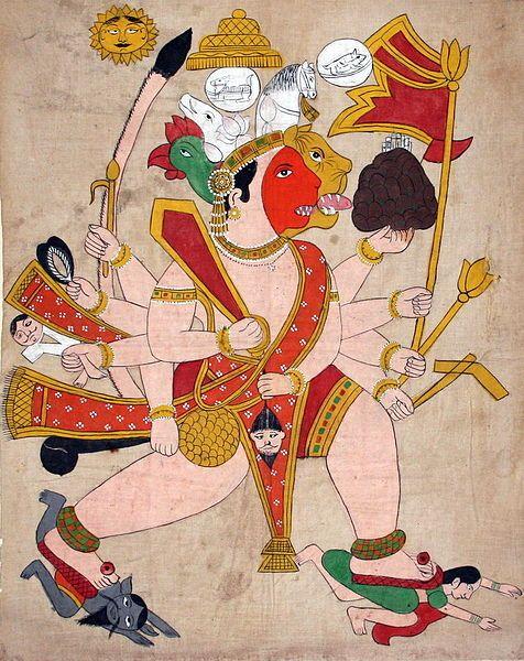 Panchmukhi Hanuman: Hanuman of the five-faces - Varaha facing north, Narasimha facing south, Garuda facing west, Hayagriva facing up, and Hanuman facing east
