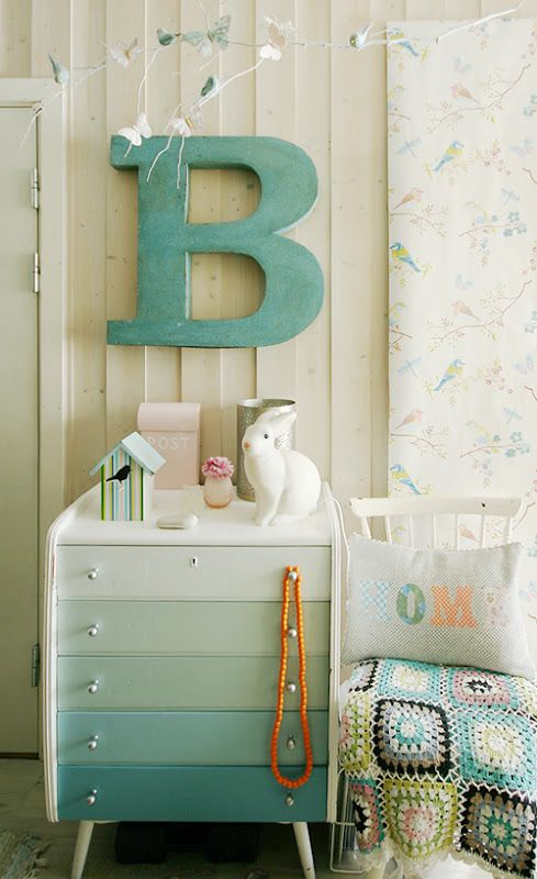 ombre dresser: Dressers Drawers, Paintings Chips Cards, Big Letters, Color, Paintings Dressers, Baby Rooms, Dressers Ideas, Chest Of Drawers, Kids Rooms