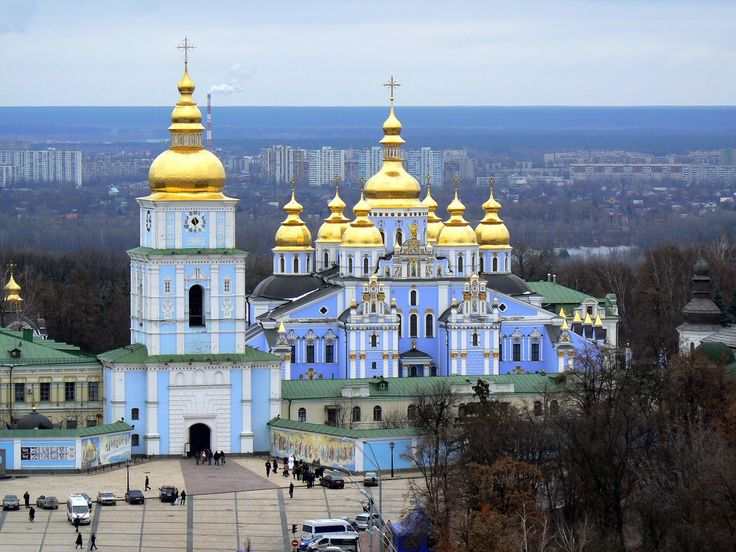 St. Michael's Golden-Domed Monastery in Kiev, Ukraine. Originally built in the Middle Ages incorporating elements that evolved from styles prevalent during Byzantine & Baroque period. Often destroyed by Polish and the Tatar-Mongol invaders, restored many times. The original cathedral was demolished by the Soviet authorities in 1930s, but reconstructed and opened in 1999 following Ukrainian independence.