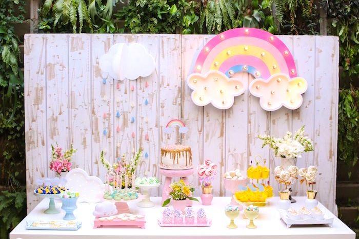 Girly rainbow dessert table from a Pretty Pastel Rainbow Party on Kara's Party Ideas | KarasPartyIdeas.com (4)