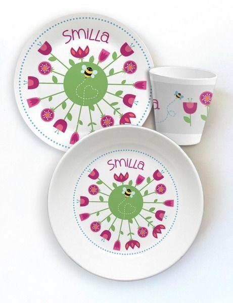 Geschirr-Set aus Melamin Motiv Blumenrund von die kleine Designerei - Melamin Geschirr mit Namen auf DaWanda.com