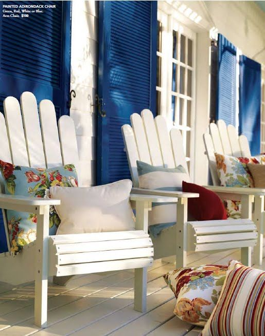 Nautical blue shutters against the 'beachy white' adirondack chairs!  oooooh for beach life!: Living Rooms Design, Beaches Living Rooms, Porches Adirondack Chairs, Beaches Houses Shutters, White Houses Blue Shutters, Adirondack Chairs Beaches, Front Porches, Beachi White, Beaches Cottages