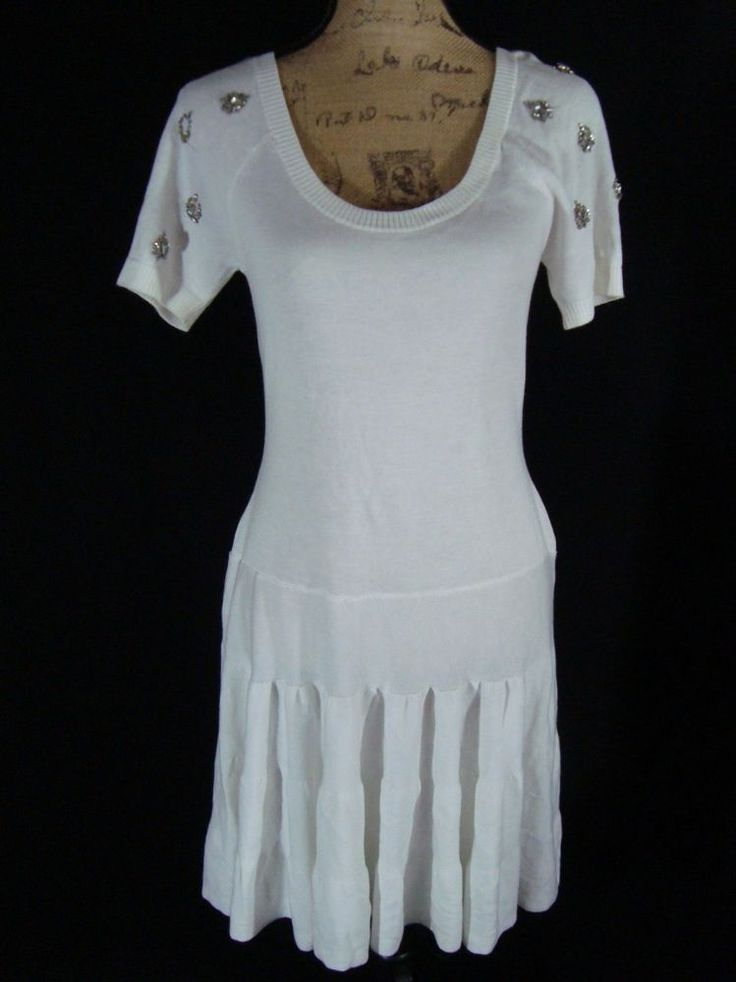 Victoria Secret Short Sleeve Tiered Dress Style Stretch White Size Small D11 #VictoriaSecret #TieredSweaterDress #Casual