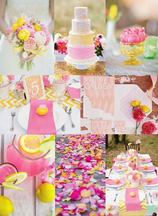 Modern Pink and Yellow #Wedding Styling Mood Board from The Wedding Community #weddingstyling #weddingideas
