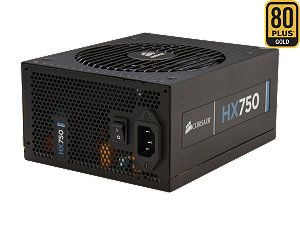CORSAIR HX Series HX750 750W ATX12V 2.3 / EPS12V 2.91 SLI Ready CrossFire Ready 80 PLUS GOLD Certified Modular Active PFC Power Supply