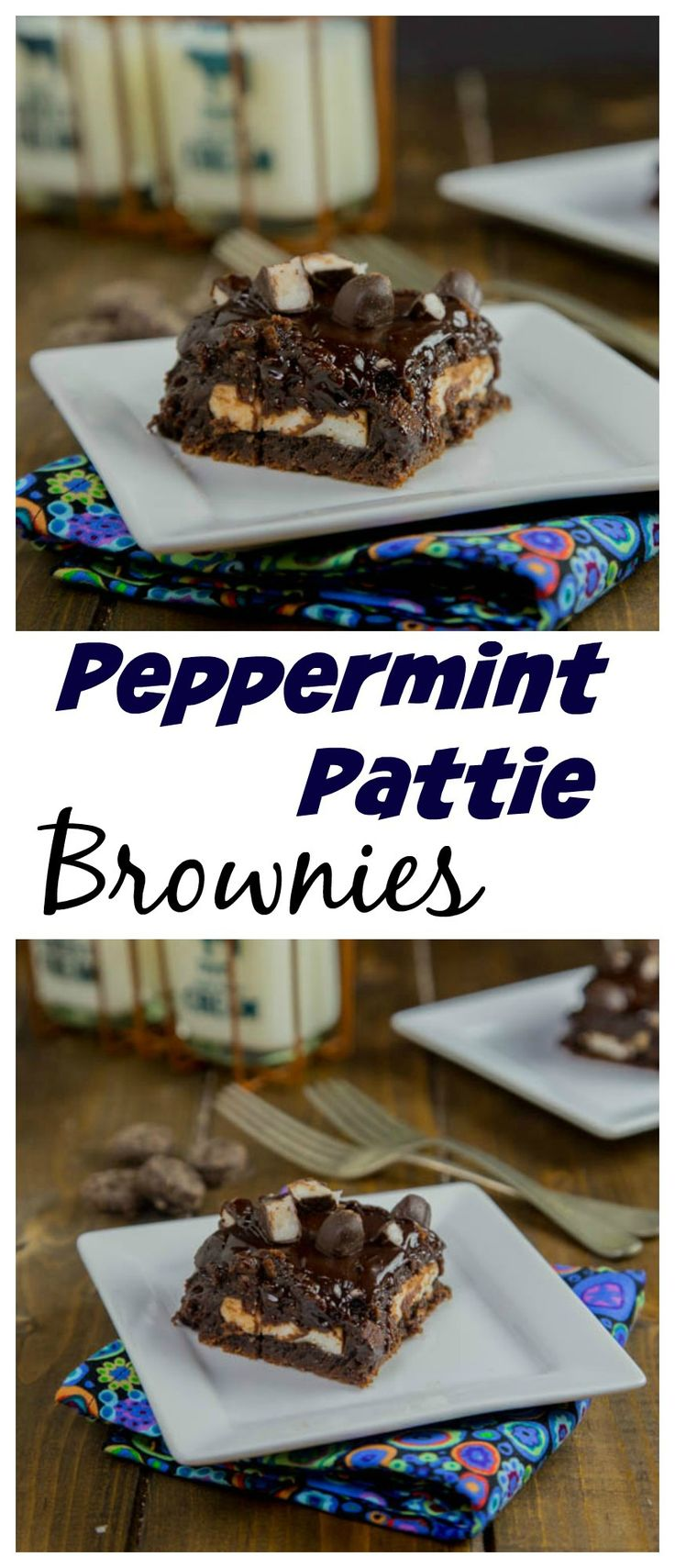 Peppermint Pattie Brownies – Rich and fudgy brownies with a layer of peppermint pattie candies, and topped with a gooey chocolate ganache.