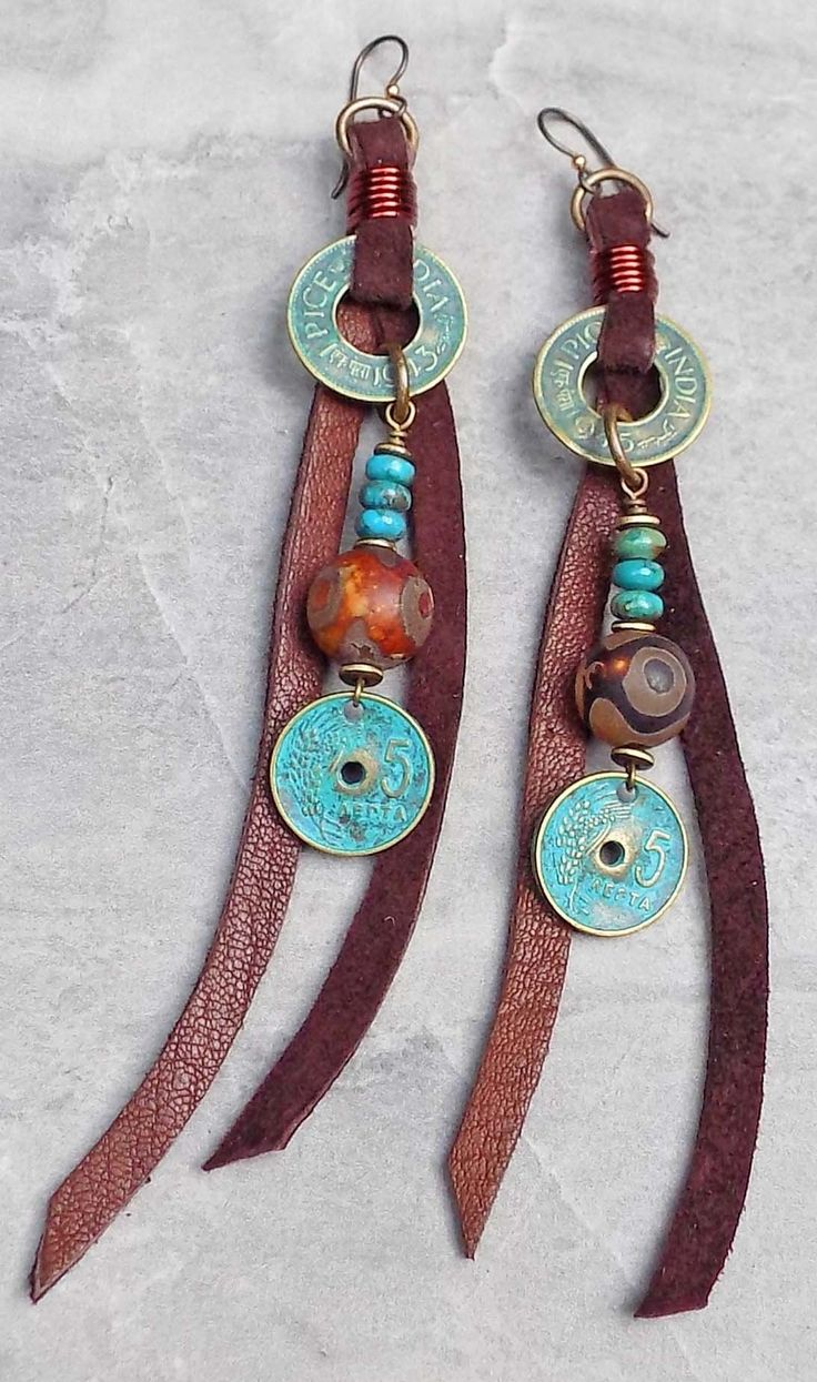 Intriguing Turquoise Coin, Tibetan Agate & Brown Suede Tassel Earrings