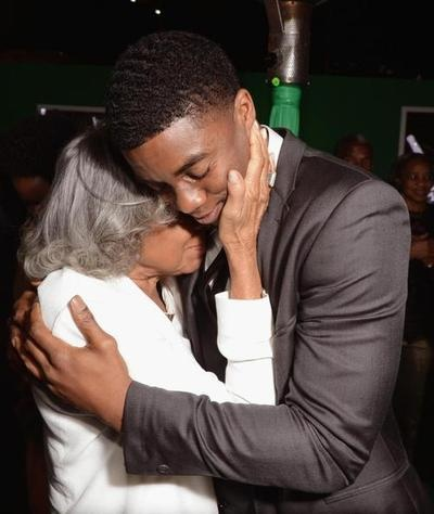 """Mrs. Rachel Robinson (widow of Jackie Robinson) with Chadwick Boseman (played Jackie Robinson in the true story film released April 2013) at the premiere of """"42"""""""