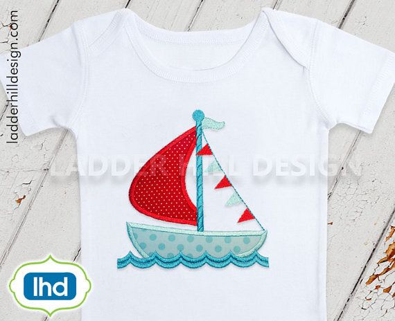 Sailboat applique embroidery sailboat in water with banner